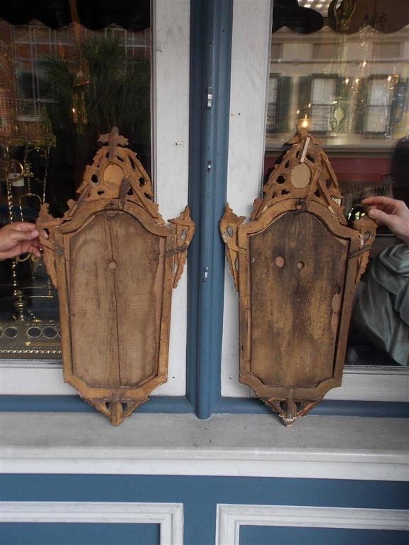 Glass Pair of Italian Gilt Carved Wood Foliage Wall Mirrors, Circa 1810 For Sale