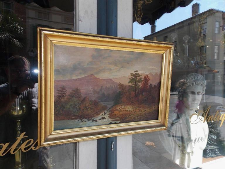 American Oil Framed Landscape on Academy Board, Hudson Valley, Circa ...
