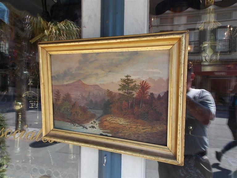 Gilt American Oil Framed Landscape on Academy Board, Hudson Valley, Circa 1820 For Sale