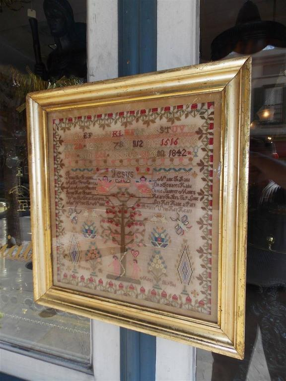 American Empire American Needlepoint Gilt Framed Sampler, Tree of Knowledge, Circa 1842 For Sale