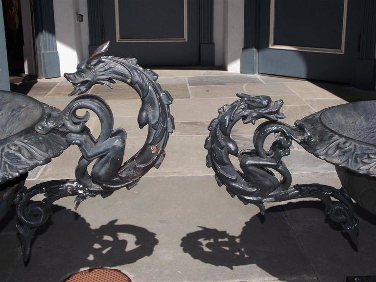 Early 19th Century Pair of American Cast Iron and Painted Garden Planters, Circa 1825 For Sale