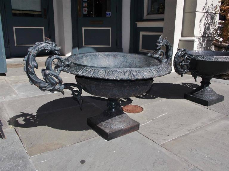 American Empire Pair of American Cast Iron and Painted Garden Planters, Circa 1825 For Sale
