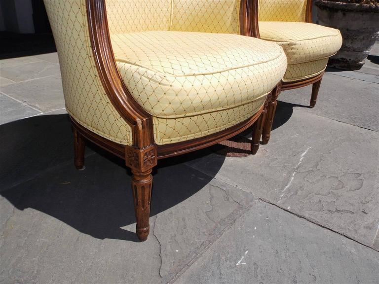 Silk Pair of Italian Walnut Bergere Upholstered Armchairs, Circa 1780 For Sale