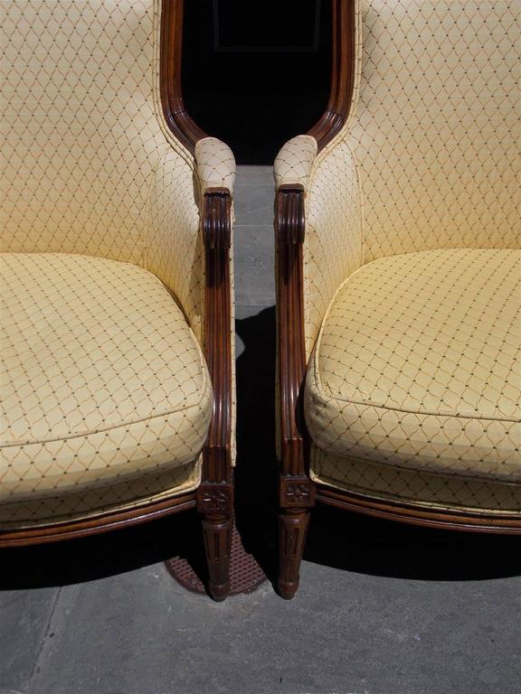 Hand-Carved Pair of Italian Walnut Bergere Upholstered Armchairs, Circa 1780 For Sale