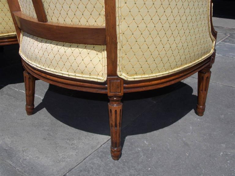 Pair of Italian Walnut Bergere Upholstered Armchairs, Circa 1780 For Sale 3