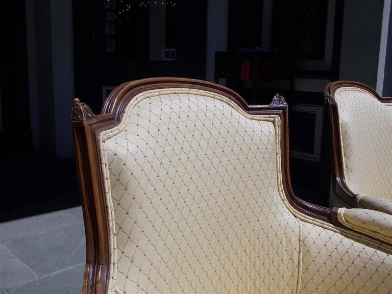 Pair of Italian Walnut Bergere Upholstered Armchairs, Circa 1780 In Excellent Condition For Sale In Charleston, SC