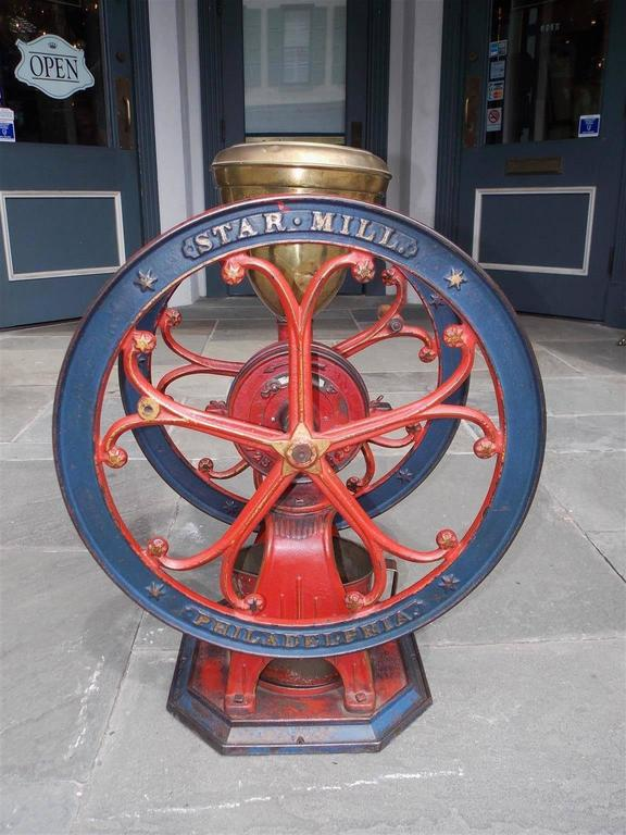 American Cast Iron Painted Coffee Grinder Star Mill