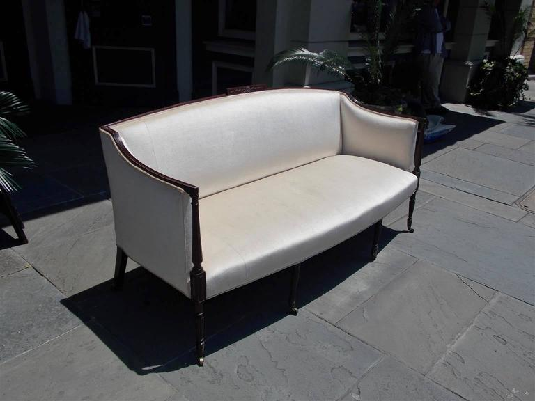 Hand-Carved American Mahogany Sheraton Style Upholstered Sofa, Circa 1880 For Sale