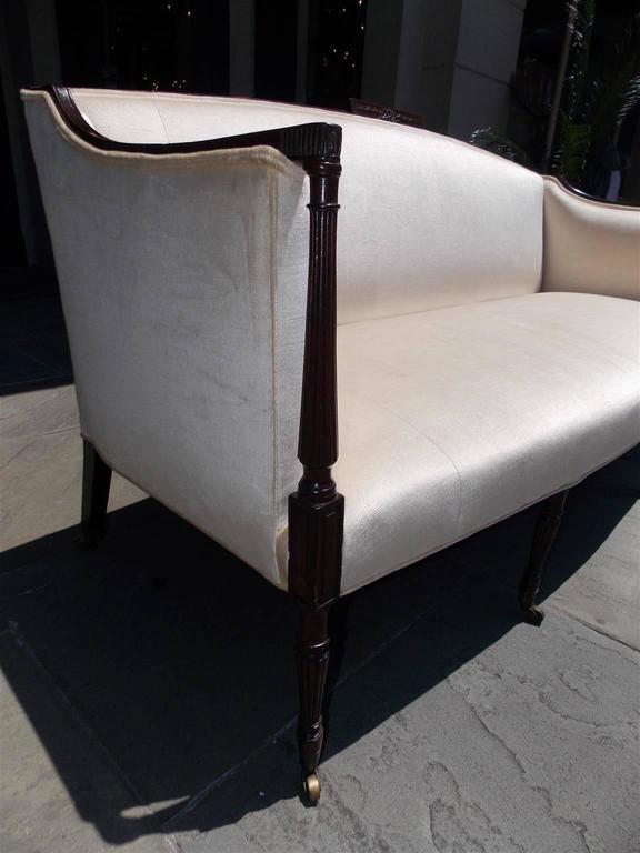 Late 19th Century American Mahogany Sheraton Style Upholstered Sofa, Circa 1880 For Sale