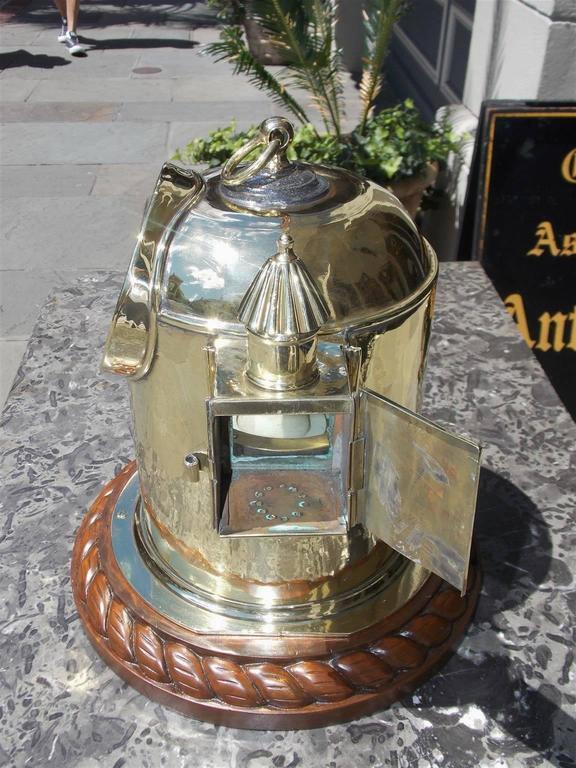 Late 19th Century English Brass and Mahogany Yacht Binnacle Southampton, Circa 1870 For Sale