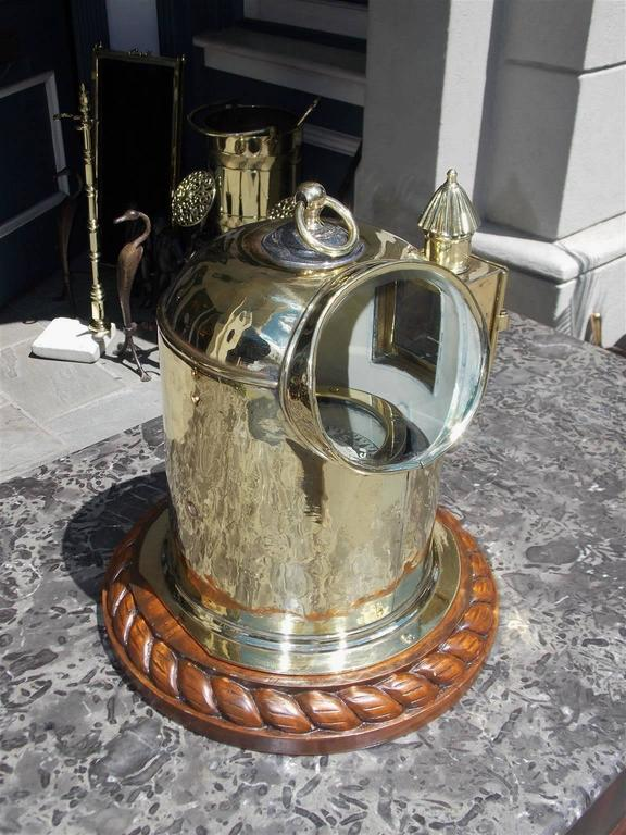 Victorian English Brass and Mahogany Yacht Binnacle Southampton, Circa 1870 For Sale