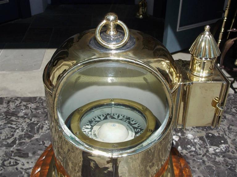 English Brass and Mahogany Yacht Binnacle Southampton, Circa 1870 In Excellent Condition For Sale In Charleston, SC