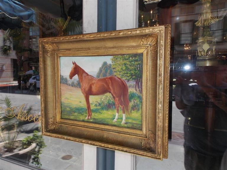 American Classical American Oil on Board Portrait of Horse, NY, James Weiland, Circa 1900 For Sale