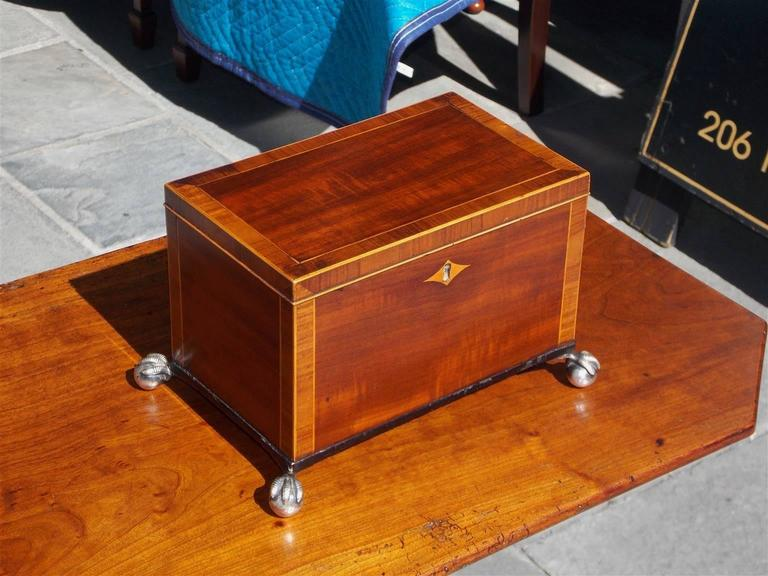 English Regency mahogany tea caddy cross banded in tulip wood with satinwood string inlays, centered diamond escutcheon, hinged lid with compartmentalized lined interior, and terminating on ebonized molded base with silver over brass ball and claw