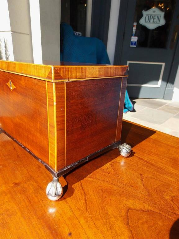 English Regency Mahogany and Tulipwood Inlaid Tea Caddy, Circa 1815 In Excellent Condition For Sale In Charleston, SC