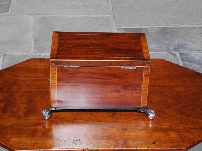English Regency Mahogany and Tulipwood Inlaid Tea Caddy, Circa 1815 For Sale 1