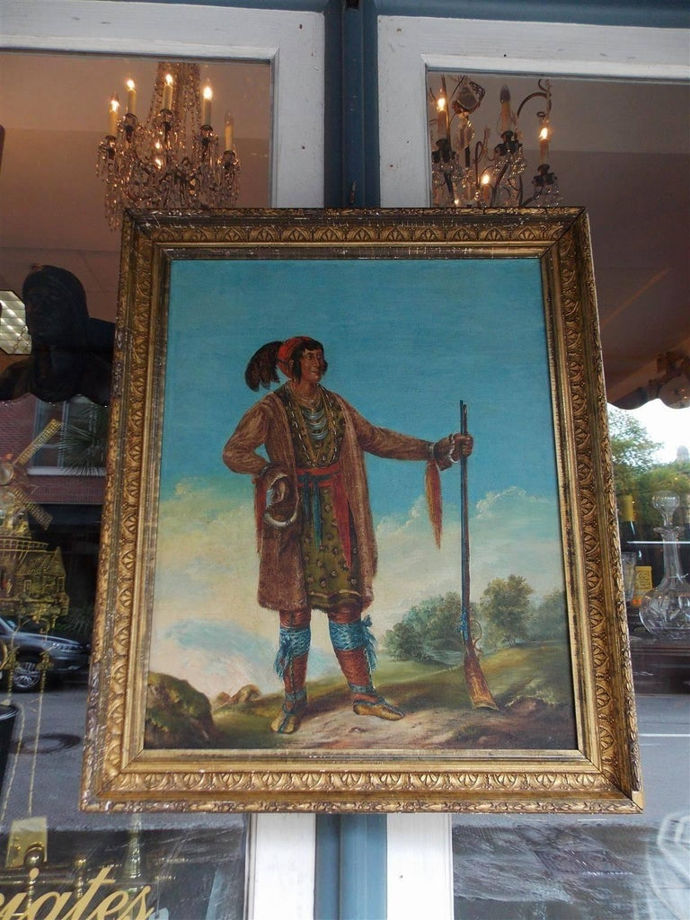 Hand-Carved American Oil on Canvas Portrait of Osceola in Original Gilt Frame, Circa 1890 For Sale