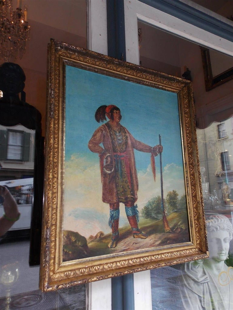 American Oil on Canvas Portrait of Osceola in Original Gilt Frame, Circa 1890 In Excellent Condition For Sale In Charleston, SC