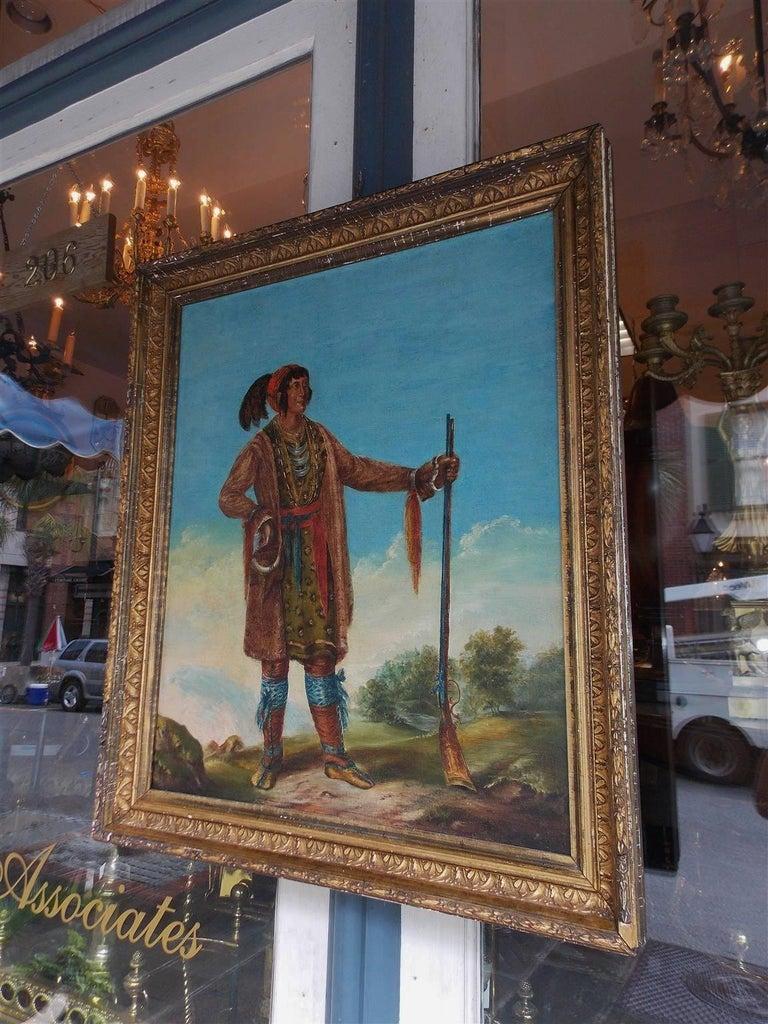 American Empire American Oil on Canvas Portrait of Osceola in Original Gilt Frame, Circa 1890 For Sale