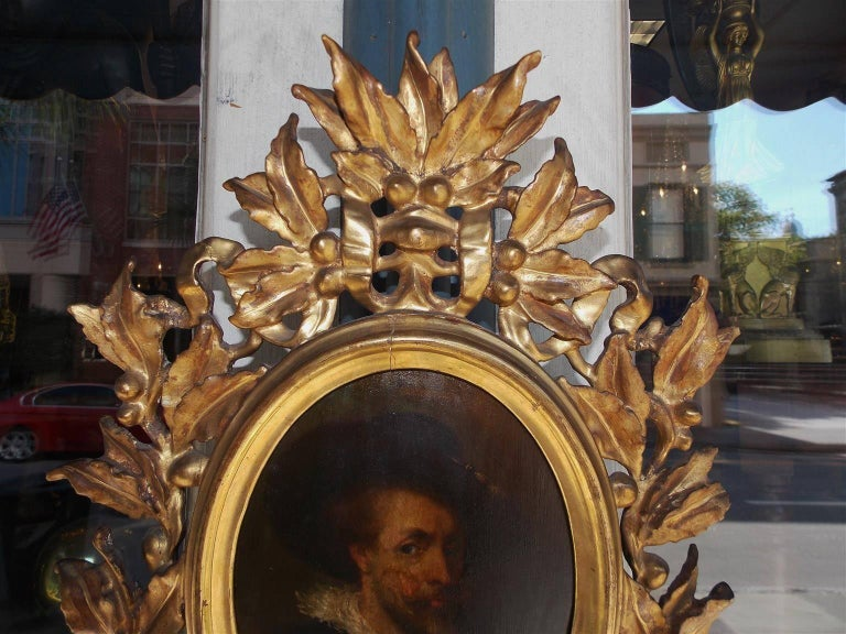 Neoclassical Italian Oval Oil on Board Gilt Carved Wood Portrait of a Gentleman, Circa 1770 For Sale