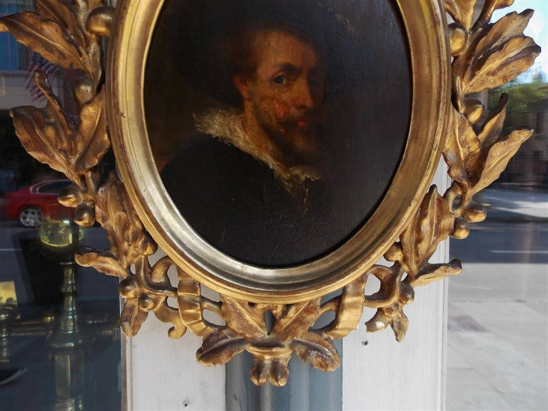 Hand-Carved Italian Oval Oil on Board Gilt Carved Wood Portrait of a Gentleman, Circa 1770 For Sale