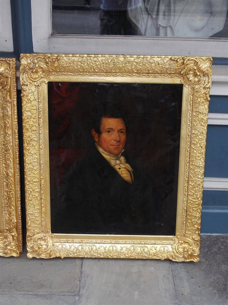 American Colonial Pair of American Oil on Canvas Gilt Framed Portraits, S.C., Circa 1770  For Sale