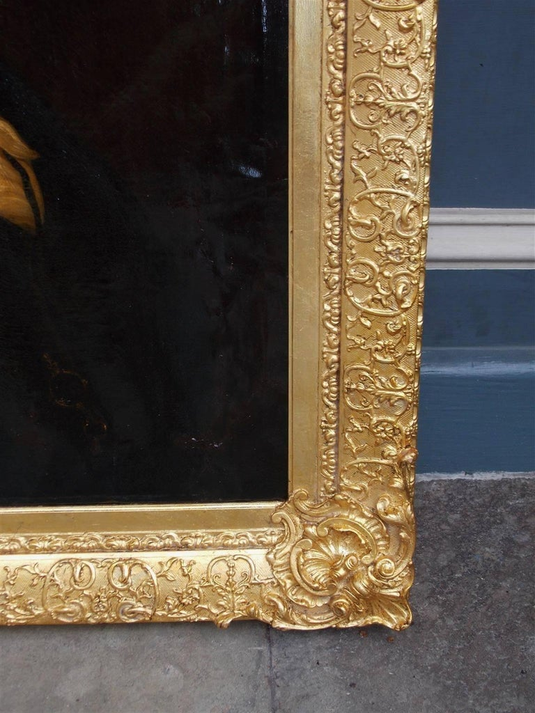 Pair of American Oil on Canvas Gilt Framed Portraits, S.C., Circa 1770  For Sale 1