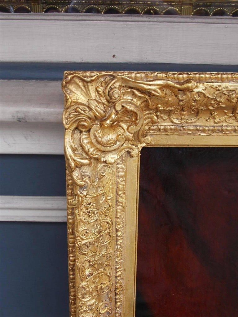 Hand-Carved Pair of American Oil on Canvas Gilt Framed Portraits, S.C., Circa 1770  For Sale