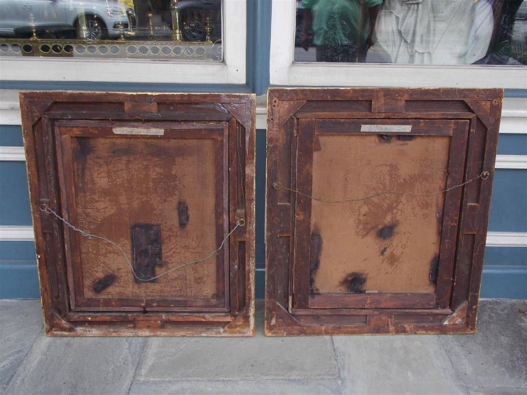 Pair of American Oil on Canvas Gilt Framed Portraits, S.C., Circa 1770  For Sale 2