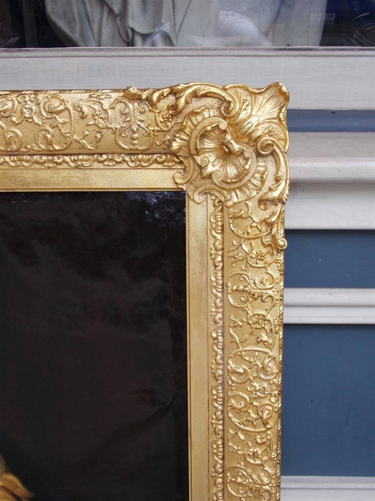 Pair of American Oil on Canvas Gilt Framed Portraits, S.C., Circa 1770  In Excellent Condition For Sale In Charleston, SC