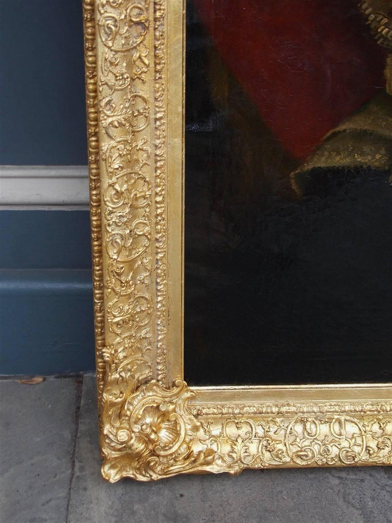 Gesso Pair of American Oil on Canvas Gilt Framed Portraits, S.C., Circa 1770  For Sale
