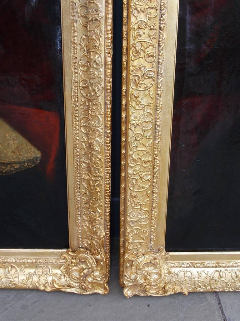 Late 18th Century Pair of American Oil on Canvas Gilt Framed Portraits, S.C., Circa 1770  For Sale