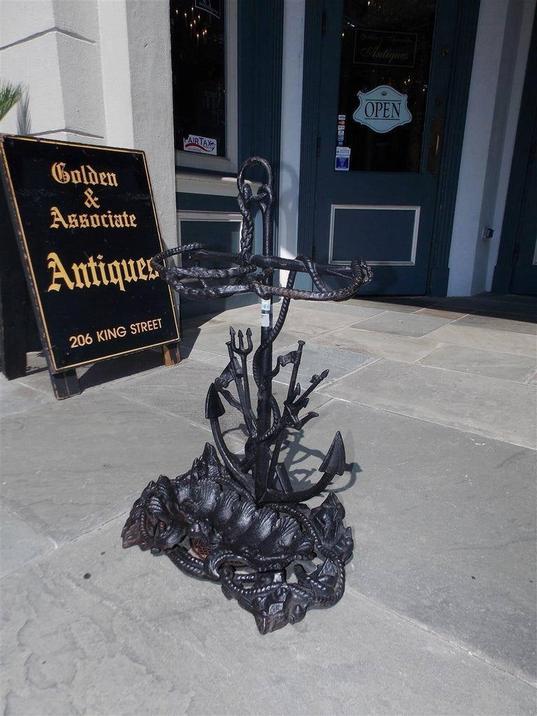 Hand-Painted American Cast Iron Nautical Anchor and Dolphin Motif Umbrella Stand, Circa 1850 For Sale