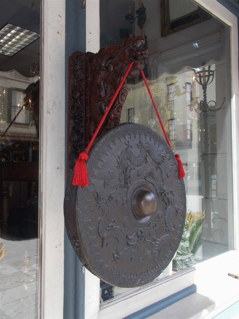 Qing Chinese Rosewood and Bronze Wall-Mounted Temple Gong, 19th Century  For Sale