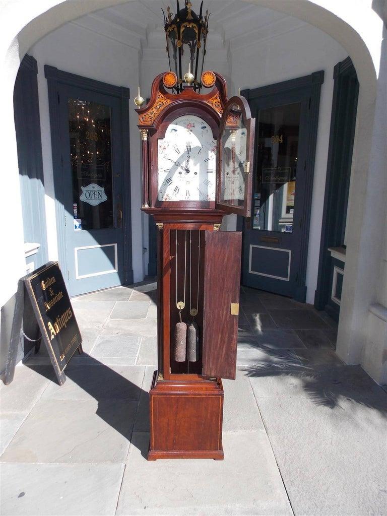 Brass Scottish Mahogany Swan Neck Satinwood Patera Inlaid Tall Case Clock, Circa 1780 For Sale