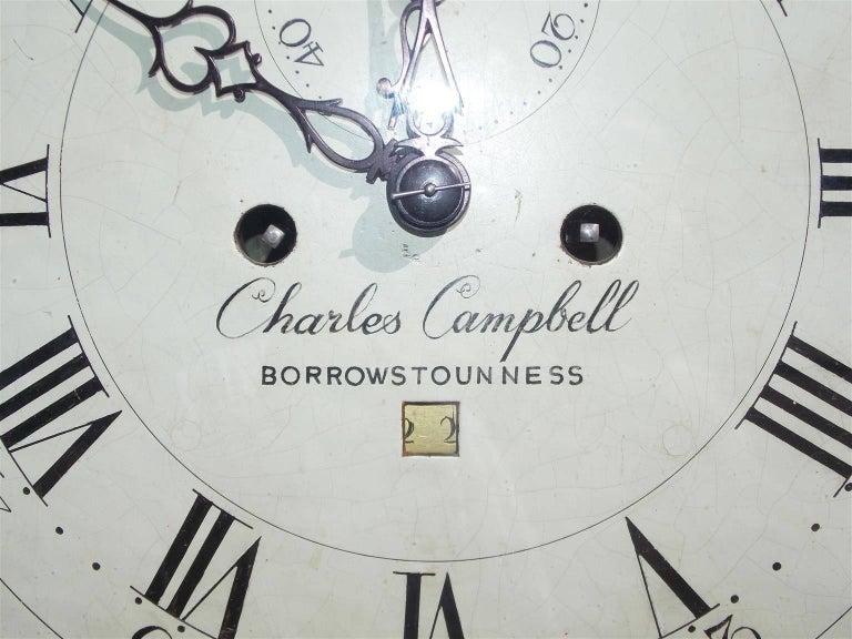 Late 18th Century Scottish Mahogany Swan Neck Satinwood Patera Inlaid Tall Case Clock, Circa 1780 For Sale