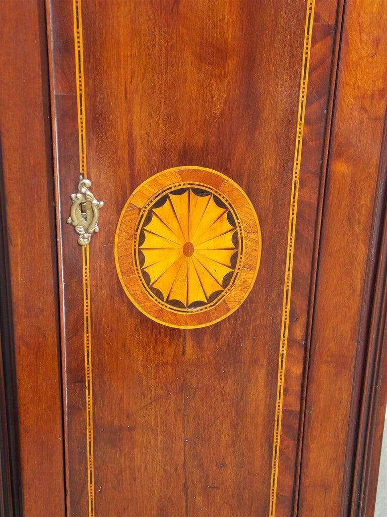 Scottish Mahogany Swan Neck Satinwood Patera Inlaid Tall Case Clock, Circa 1780 For Sale 1