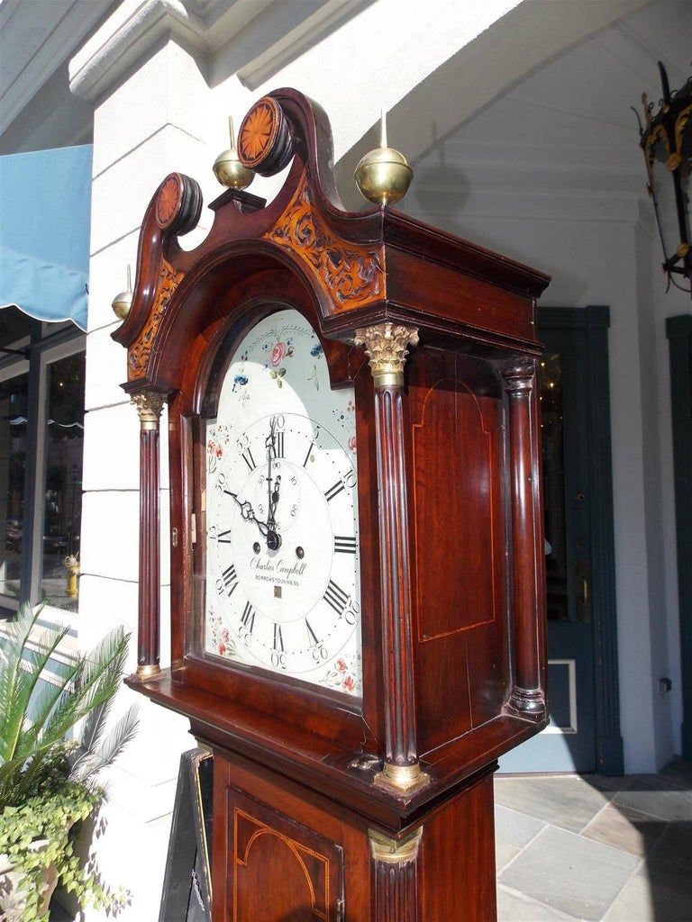 Hand-Carved Scottish Mahogany Swan Neck Satinwood Patera Inlaid Tall Case Clock, Circa 1780 For Sale