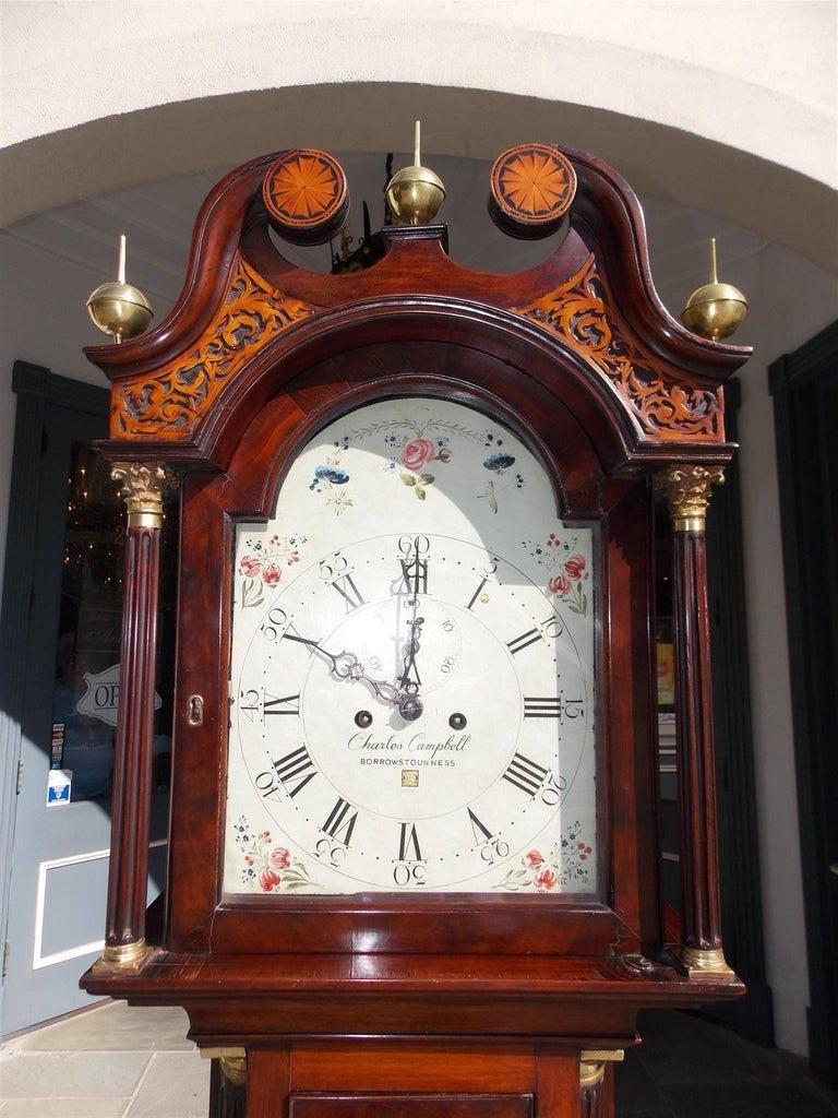 Regency Scottish Mahogany Swan Neck Satinwood Patera Inlaid Tall Case Clock, Circa 1780 For Sale