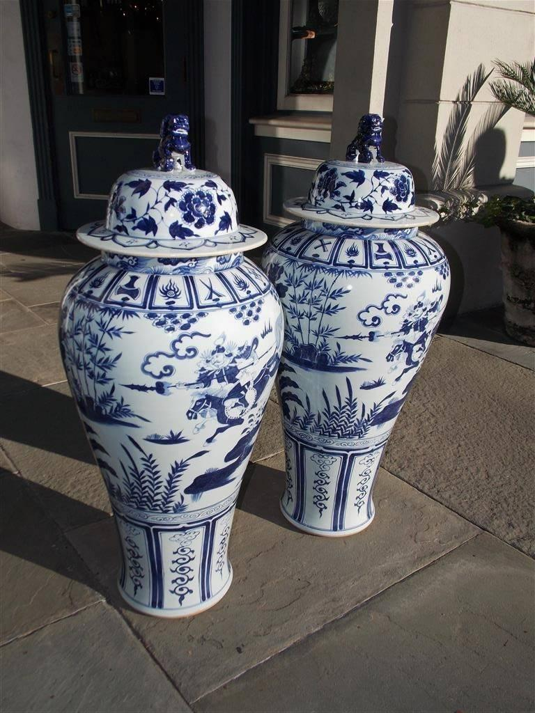 Pair of Monumental Chinese Porcelain Glazed Foo Dog Temple Urns, 20th Century For Sale 4