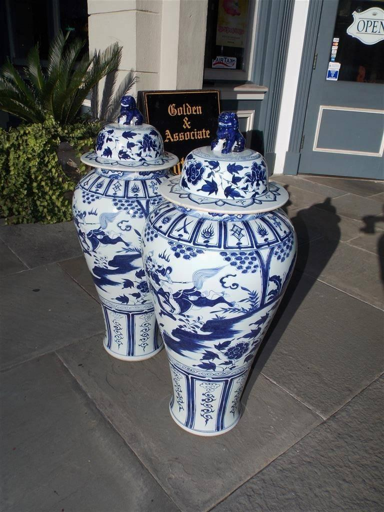 Pair of Monumental Chinese Porcelain Glazed Foo Dog Temple Urns, 20th Century For Sale 5