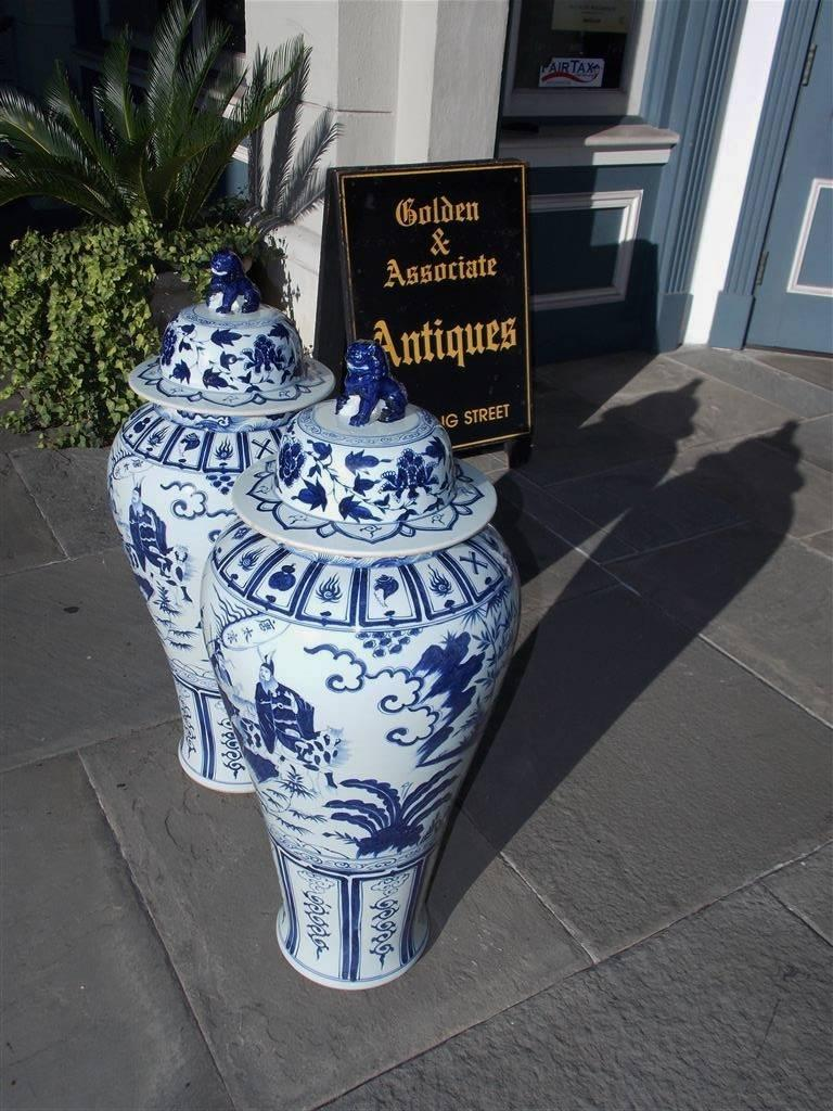 Pair of Monumental Chinese Porcelain Glazed Foo Dog Temple Urns, 20th Century In Excellent Condition For Sale In Charleston, SC