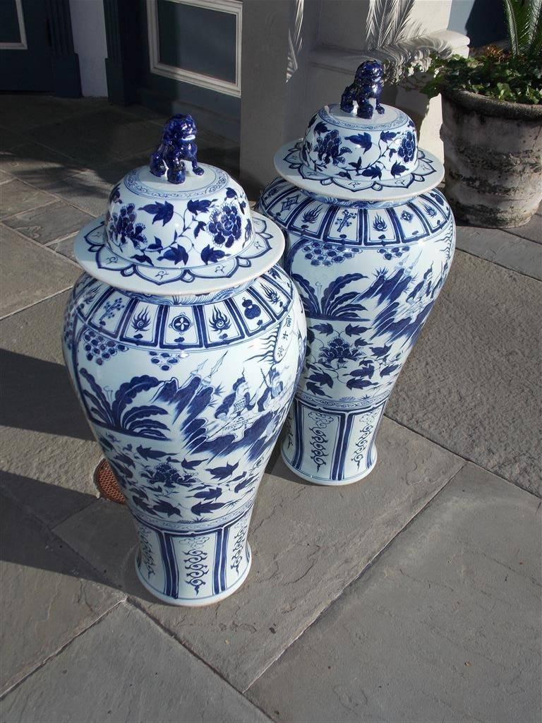 Chinese Export Pair of Monumental Chinese Porcelain Glazed Foo Dog Temple Urns, 20th Century For Sale
