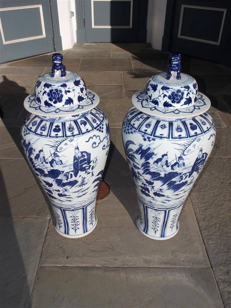 Pair of Monumental Chinese Porcelain Glazed Foo Dog Temple Urns, 20th Century For Sale 1