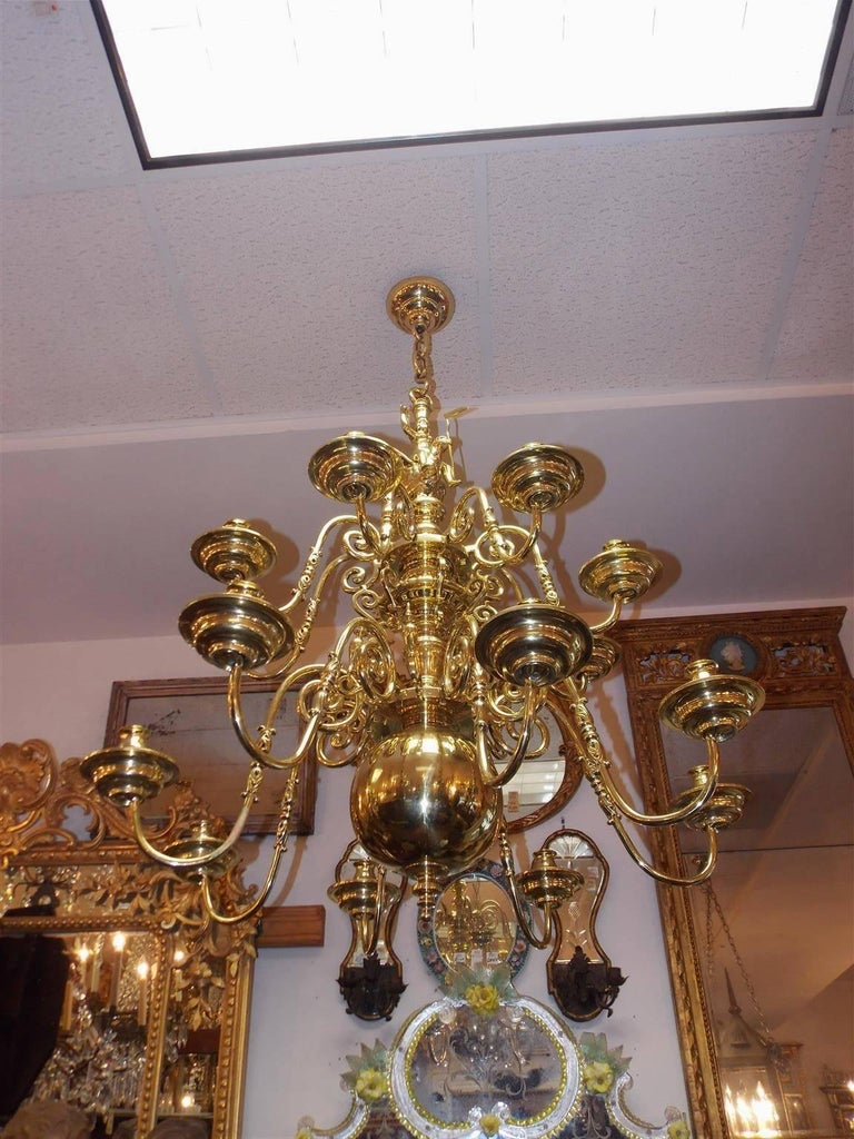 Dutch Colonial Brass Two Tier Bulbous Figural And Eagle