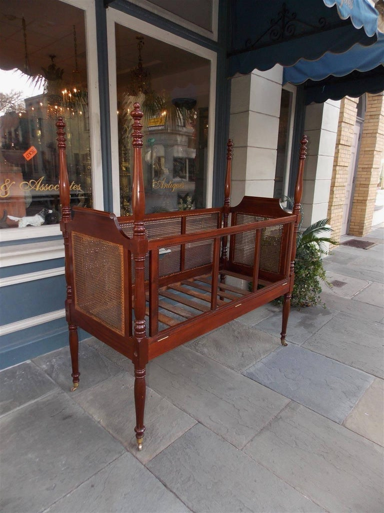 Crib for sale charleston sc - Charleston Mahogany Urn Finial Four Poster Crib With Caning Circa 1800 2