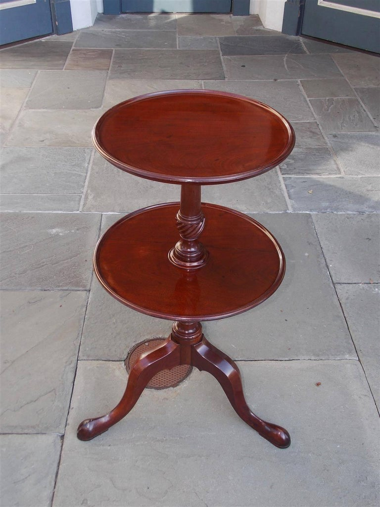 Hand-Carved English Chippendale Mahogany Dish Top Two-Tiered Dumb Waiter, Circa 1770 For Sale