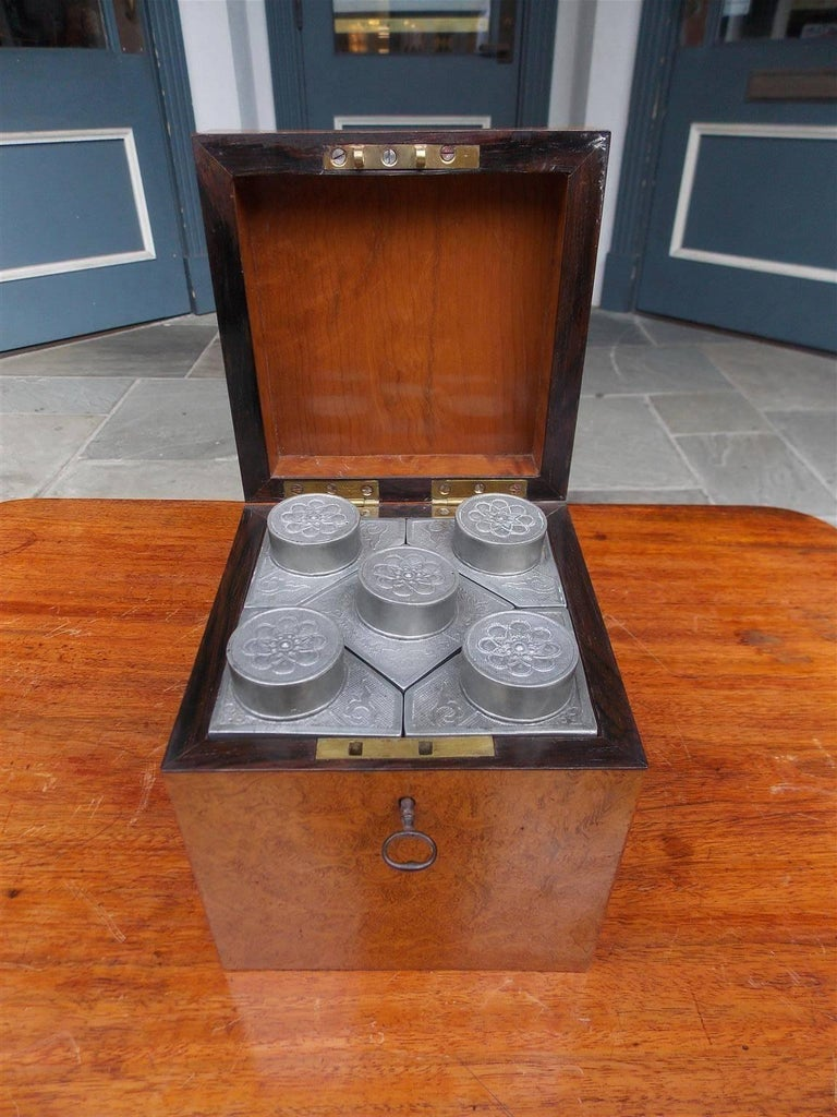 Chinese Burl Walnut Tea Caddy with Decorative Floral Pewter Bins, Circa 1810 In Excellent Condition For Sale In Charleston, SC