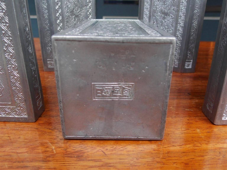 Chinese Burl Walnut Tea Caddy with Decorative Floral Pewter Bins, Circa 1810 For Sale 2