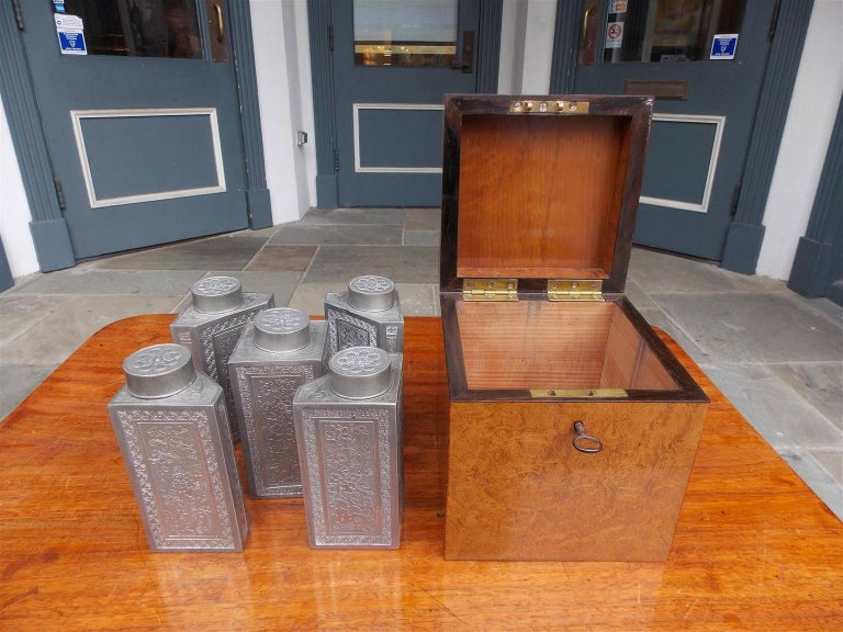 Early 19th Century Chinese Burl Walnut Tea Caddy with Decorative Floral Pewter Bins, Circa 1810 For Sale